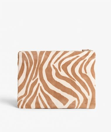 Medium Clutch Pony Zebra Camel/Beige