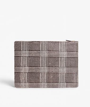 Medium Clutch Pony Check Black/White