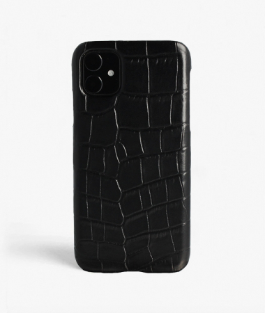 iPhone 11 Leather Case Croco Black Large Pattern