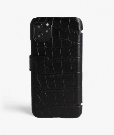 iPhone 11 Pro Max Card Case Crocodile Black