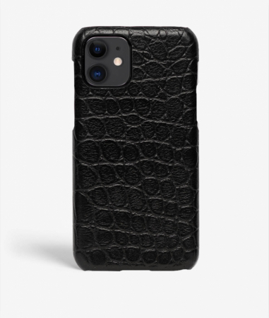 iPhone 11 Leather Case Croco Black Small