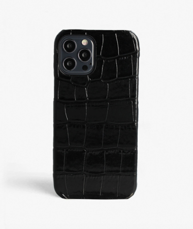 iPhone 12/12 Pro Leather Case Croco Black Large Pattern