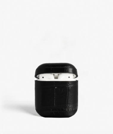 Airpod Leather Case Crocodile Black