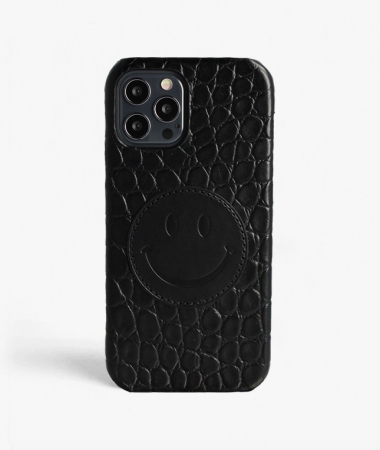 iPhone 12/12 Pro Leather Case Smiley Croco Black