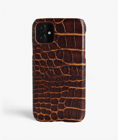 iPhone 11 Leather Case Croco Dark Brown Mixed