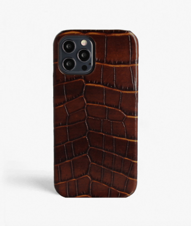 iPhone 12 Pro Max Leather Case Croco Dark Brown Magsafe