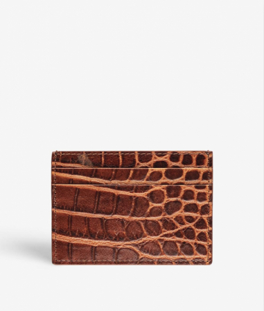 Card Holder Leather Crocodile Brown