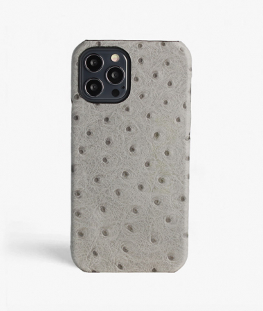 iPhone 12/12 Pro Leather Case Ostrich Grey