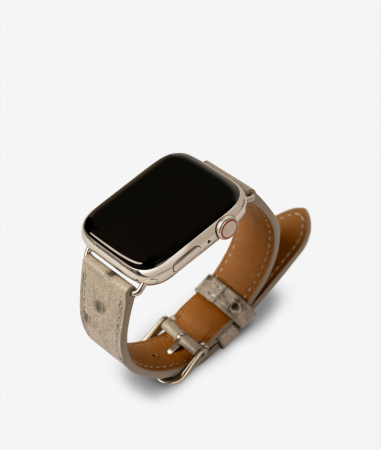 Apple Watch Leather Wristband Ostrich Grey