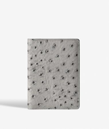 Passport Cover Leather Ostrich Grey