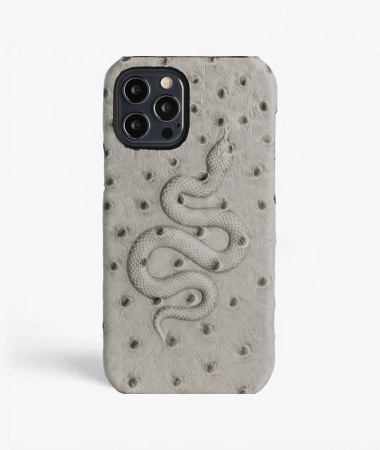 iPhone 12/12 Pro Leather Case Snake Ostrich Grey