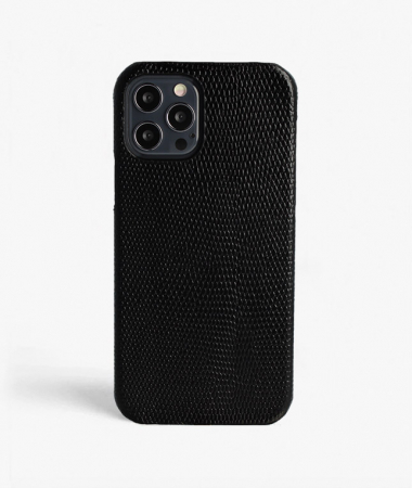 iPhone 12/12 Pro Leather Case Lizard Black