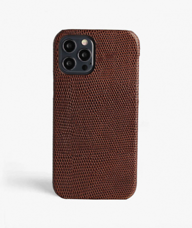 iPhone 12 Pro Max Leather Case Lizard Brown