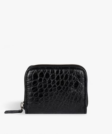 Zip Wallet Crocodile Black