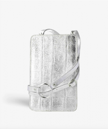 Smart Crossbody Bag Croco Silver