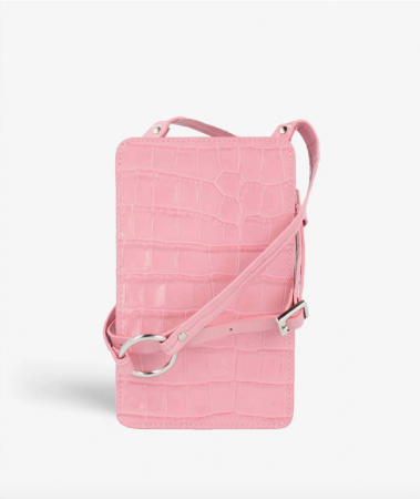 Smart Crossbody Bag Croco Pastel Pink