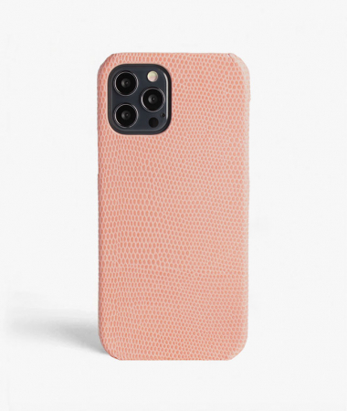 iPhone 12/12 Pro Leather Case Lizard Blush Pink