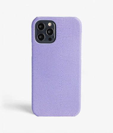 iPhone 12/12 Pro Leather Case Lizard Lavender Purple