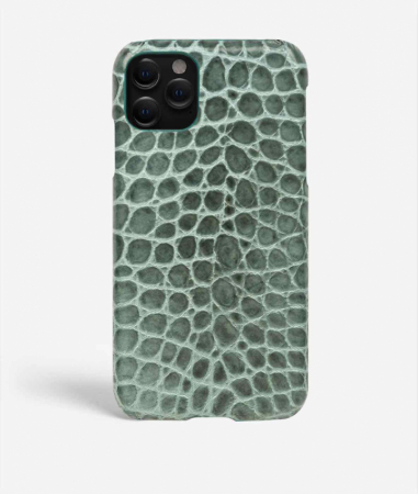 iPhone 11 Pro Leather Case Croco Teal Small