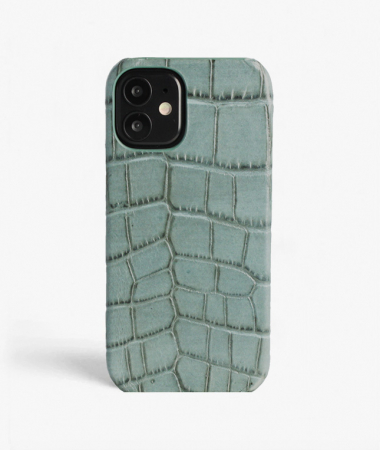 iPhone 12 Mini Leather Case Croco Teal Large