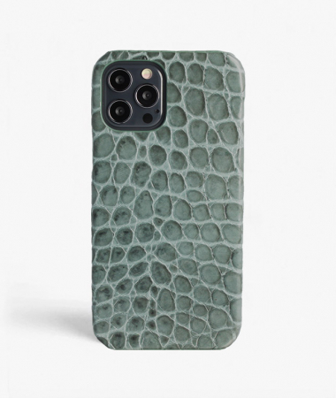 iPhone 12/12 Pro Leather Case Croco Teal Small