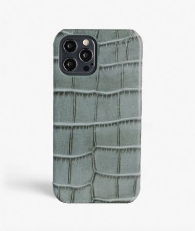 iPhone 12 Pro Max Leather Case Croco Teal