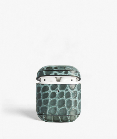 AirPod Leather Case Crocodile Teal