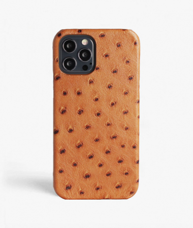 iPhone 12/12 Pro Leather Case Ostrich Brown