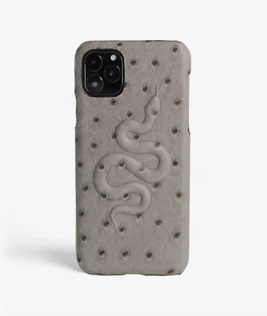 iPhone 11 Pro Max Leather Case Snake Ostrich Grey