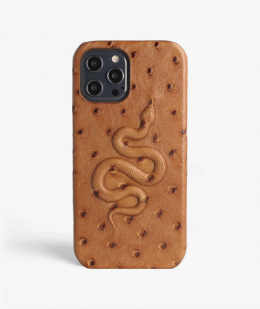 iPhone 12 Pro Max Leather Case Snake Ostrich Brown
