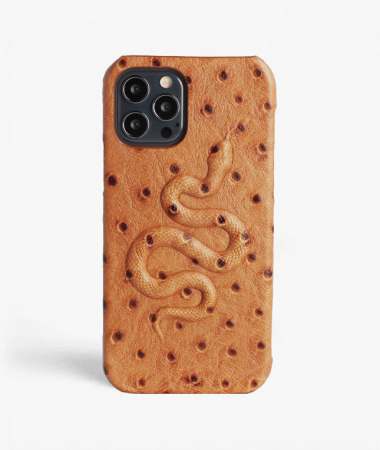 iPhone 12/12 Pro Leather Case Snake Ostrich Brown