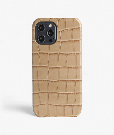 iPhone 12 Pro Max Leather Case Croco Sand