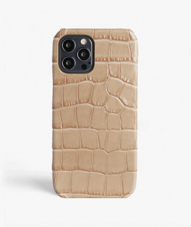 iPhone 12/12 Pro Leather Case Croco Sand