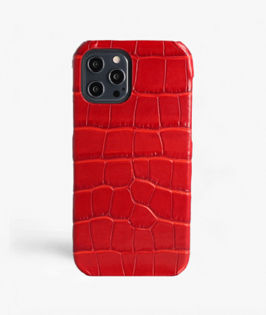 iPhone 12 Pro Max Leather Case Croco Red