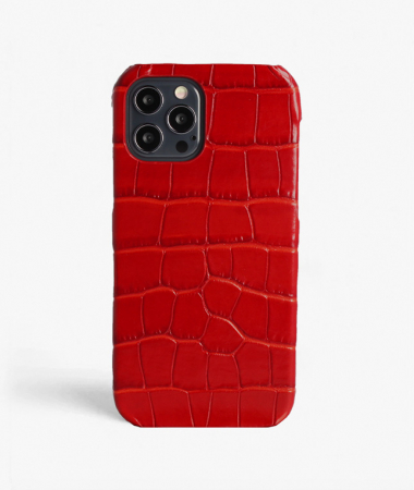 iPhone 12/12 Pro Leather Case Croco Red