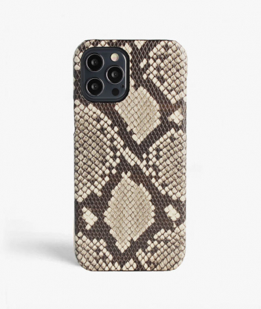 iPhone 12/12 Pro Leather Case Python Grey/Black