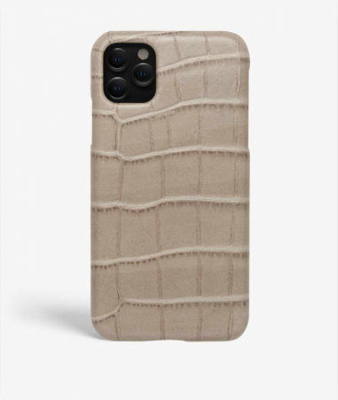 iPhone 11 Pro Leather Case Croco Grey Large
