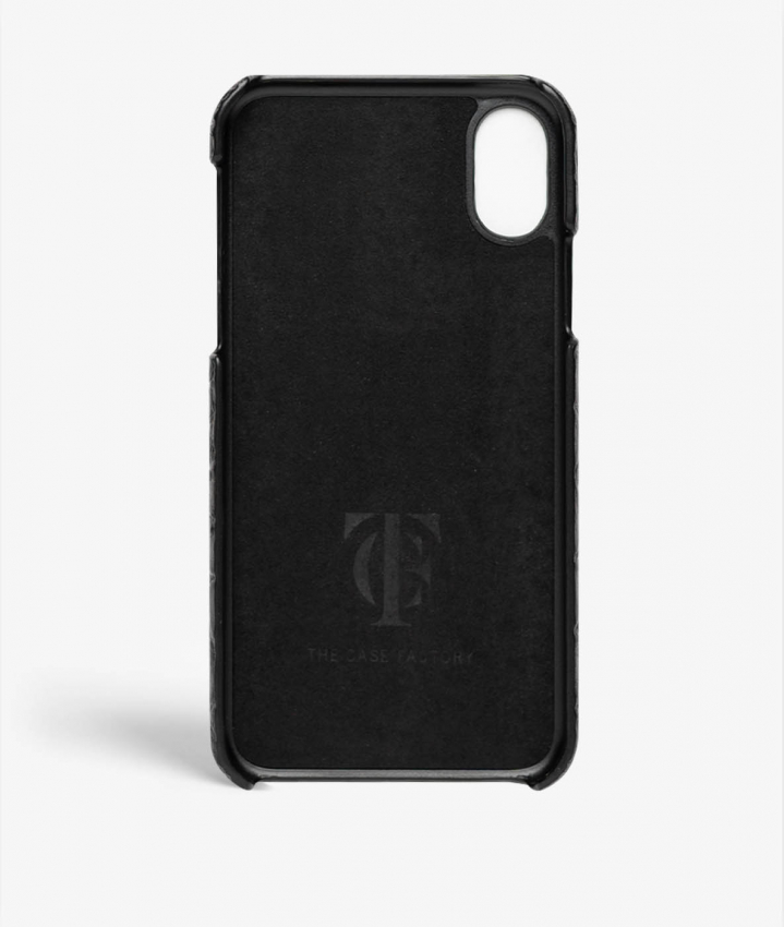 iPhone Xs Max Leather Case Croco Black Small