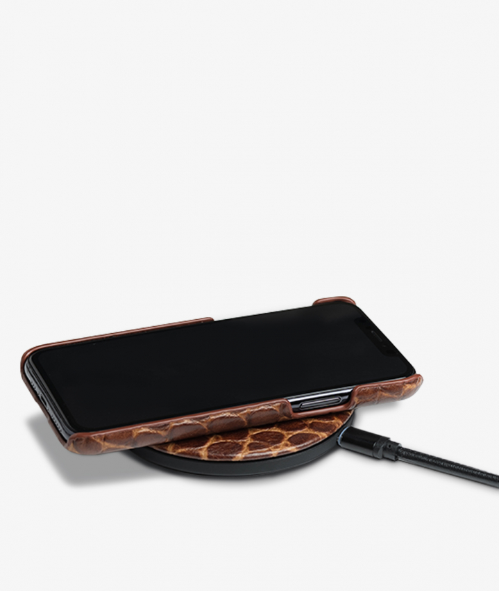 Wireless Charger Crocodile Cognac