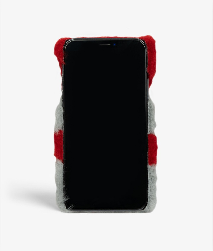 S C iPhone X/Xs Fluffy Red/Grey