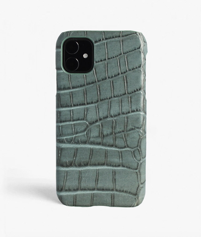 iPhone 11 Leather Case Croco Teal Large