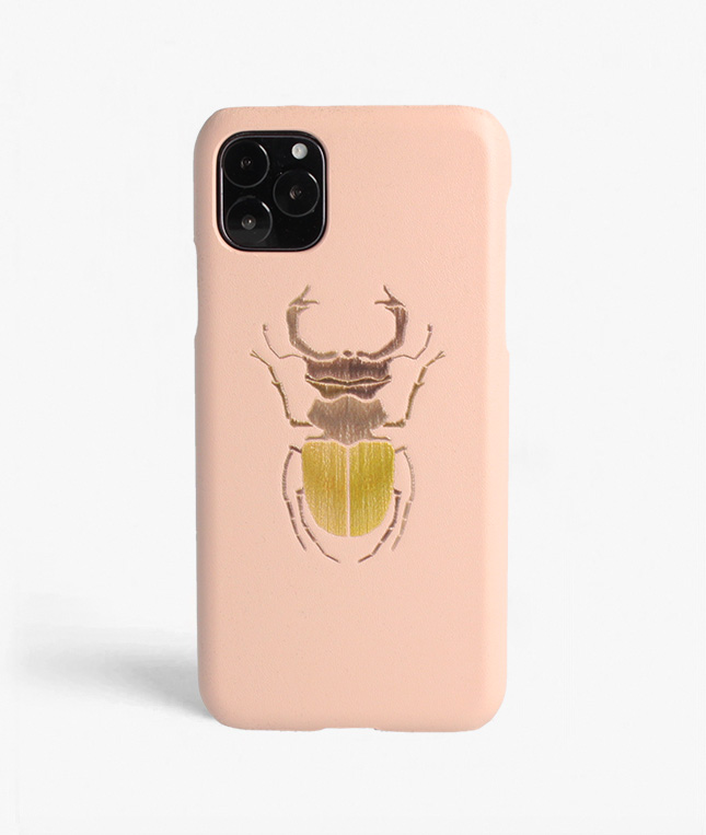 iPhone 11 Pro Leather Case Beetle Dusty Pink