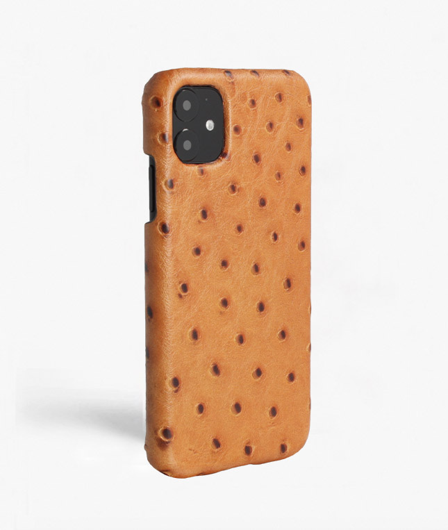 iPhone 11 Leather Case Ostrich Brown